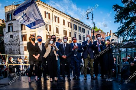 Maria Elena Boschi, Antonio Tajani, Ruth Dureghello, Matteo Salvini, Giovanni Toti, Enrico Letta attend at the demonstration promoted by Jewish community of Rome in solidarity to people of Israel in the Portico d' Ottavia in Rome