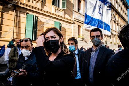 Maria Elena Boschi member of Italia Viva party attends at the demonstration promoted by Jewish community of Rome in solidarity to people of Israel in the Portico d' Ottavia in Rome
