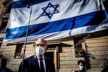 Stock Image of Enrico Letta secretary of Democratic party attends at the demonstration promoted by Jewish community of Rome in solidarity to people of Israel in the Portico d' Ottavia in Rome