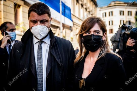 Gennaro Migliore, Maria Elena Boschi members of Italia Viva party attends at the demonstration promoted by Jewish community of Rome in solidarity to people of Israel in the Portico d' Ottavia in Rome