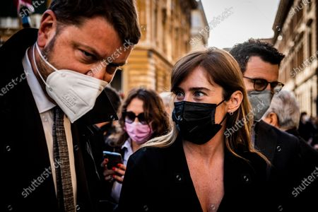 Stock Image of Gennaro Migliore, Maria Elena Boschi members of Italia Viva party attend at the demonstration promoted by Jewish community of Rome in solidarity to people of Israel in the Portico d' Ottavia in Rome