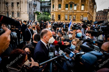 Stock Picture of Enrico Letta secretary of Democratic party attends at the demonstration promoted by Jewish community of Rome in solidarity to people of Israel in the Portico d' Ottavia in Rome