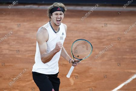 Alexander Zverev of Germany celebrates after winning a point to Kei Nishikori of Japan during their 3rd round match at the Italian Open tennis tournament, in Rome, . Zverev won 4-6, 6-3, 6-4
