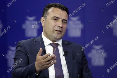 Prime Minister of North Macedonia Zoran Zaev, speaks during the 4th day at the 6th Delphi Economic Forum taking place in Athens, Greece, 13 May 2021. More than 1,000 guest speakers from 42 countries will take part in the discussions held at the forum, which are divided into 10 broad themes, either attending physically at specially equipped studios at Zappion or online. The 10 main themes during the forum are the bicentennial since the Greek Revolution 1821-2021, Geopolitics and International Security, Global Economy, the Future of Europe, Sustainability and Climate Change, People, Organisations and Society, Technology and the Future of Growth, Greece: Structural Reforms and Sustainable Development, Health, Education