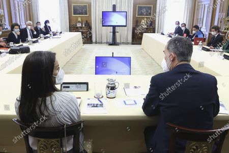 Stock Image of King Felipe VI, Queen Letizia attends 28th meeting of the Princess of Girona Foundation's Executive Committee at Zarzuela Palace