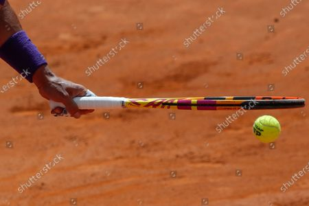 Spain's Rafael Nadal prepares to serve the ball to Canada's Denis Shapovalov during their 3rd round match at the Italian Open tennis tournament, in Rome