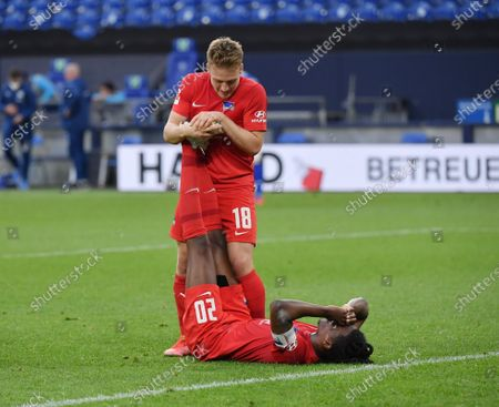 Stock Photo of Cheers with cramps after the whistle, Dedryck Boyata (Hertha BSC), right, and Santiago Ascacibar (Hertha BSC)