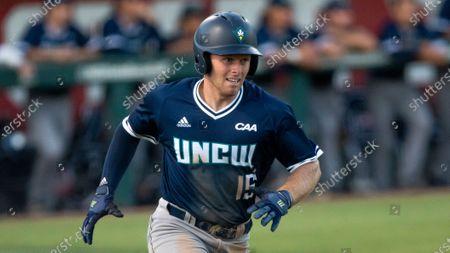 Wilmington's Matt Suggs (15) runs to first base during an NCAA baseball game, in Raleigh, N.C