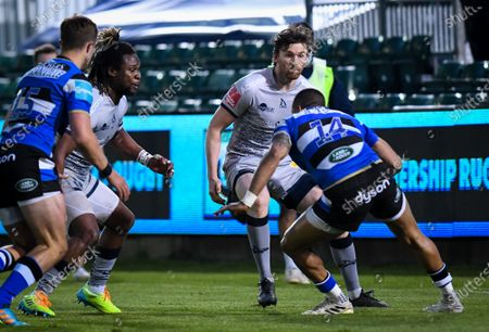 Stock Photo of Marland Yarde and Simon Hammersley of Sale Sharks defend against Anthony Watson of Bath Rugby, Bath Rugby vs Sale Sharks, Gallagher Premiership, the Recreation Ground, 14 May 2021