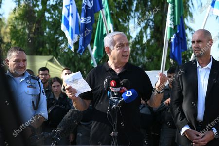 Stock Image of Israeli Prime Minister Benjamin Netanyahu (C) delivers a speech as he meets with Israeli border police, after a wave of violence in the city between Arab and Jewish in the Israeli city of Lod, near Tel Aviv, Israel, 13 May 2021.