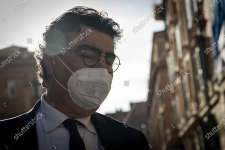 Stock Image of Emanuele Fiano participates in the event Rome's Jewish community gathered at the Portico d'Ottavia in support of Israel after the conflict in the Middle East flared up again. Several politicians also showed their solidarity.   on May 12, 2021 in Rome, Italy