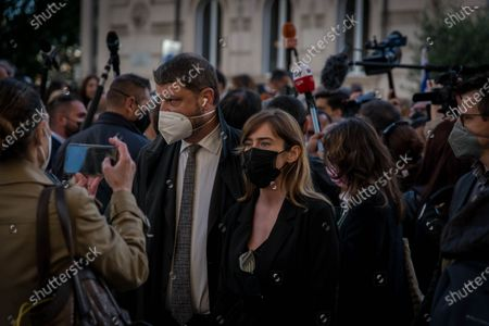 Gennaro Migliore and Maria Elena Boschi attend the event Rome's Jewish community gathered at the Portico d'Ottavia in support of Israel after the conflict in the Middle East flared up again. Several politicians also showed their solidarity.   on May 12, 2021 in Rome, Italy