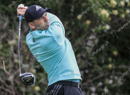 Sergio Garcia of Spain hits his tee shot on the sixteenth hole during the first round of the AT&T Byron Nelson golf tournament at TPC Craig Ranch in McKinney, Texas, USA, 13 May 2021. The tournament is being played 13 May through 16 May.