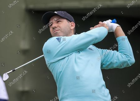 Stock Image of Sergio Garcia of Spain hits his tee shot on the seventeenth hole during the first round of the AT&T Byron Nelson golf tournament at TPC Craig Ranch in McKinney, Texas, USA, 13 May 2021. The tournament is being played 13 May through 16 May.