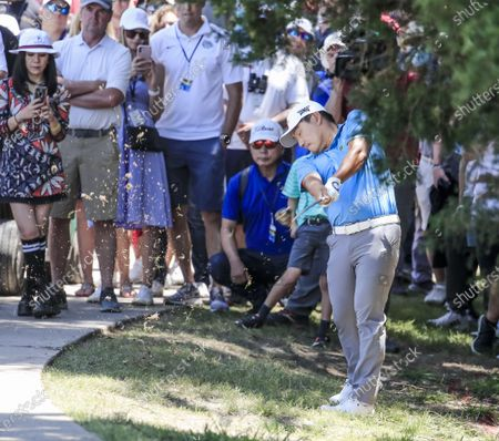 Sung Kang of South Korea hits from the rough during the first round of the AT&T Byron Nelson golf tournament at TPC Craig Ranch in McKinney, Texas, USA, 13 May 2021. The tournament is being played 13 May through 16 May.