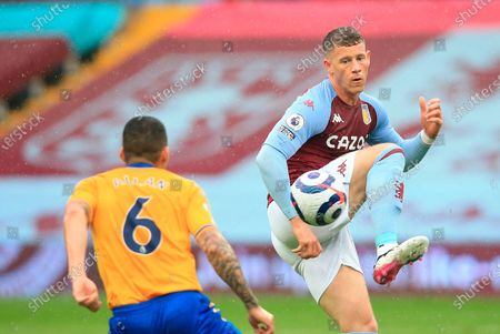 Aston Villa's Ross Barkley (R) in action during the English Premier League soccer match between Aston Villa and Everton FC in Birmingham, Britain, 13 May 2021.