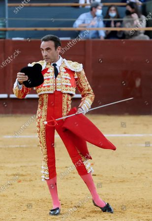 Stock Image of Spanish bullfighter Enrique Ponce reacts during a bullfight on occasion of the St Isidro Fair held at Vistalegre bullfighting arena, in Madrid, central Spain, 14 May 2021.