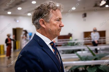 Republican Senator from Kentucky Rand Paul leaves a Senate vote on Amber McReynolds to be Governor of the US Postal Service in the US Capitol in Washington, DC, USA, 13 May 2021. President Biden said he would soon meet with GOP senators to lobby for passage of his infrastructure package.