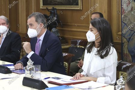 Stock Picture of Madrid King Felipe VI and Queen Letizia awaits 28th meeting of the Princess of Girona Foundation's Executive Committee at Zarzuela Palace in Madrid.  'EPP/Thorton
