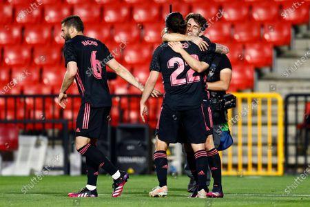Alvaro Odriozola of Real Madrid celebrates after scoring the 1-3 with his teammates Isco Alarcon and Nacho Fernandez