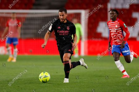Eden Hazard, of Real Madrid during the La Liga match between Granada CF and Real Madrid CF at Nuevo Los Carmenes Stadium on May 13, 2021 in Granada, Spain. Football stadiums in Spain remain closed  to fans due to the Coronavirus Pandemic.