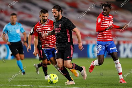 Isco Alarcon, of Real Madrid during the La Liga match between Granada CF and Real Madrid CF at Nuevo Los Carmenes Stadium on May 13, 2021 in Granada, Spain. Football stadiums in Spain remain closed  to fans due to the Coronavirus Pandemic.