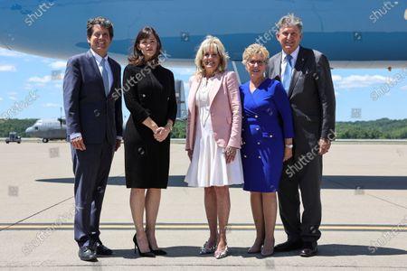 First lady Jill Biden pauses for a photo with Mark Shriver, Jennifer Garner, Gayle Manchin and Sen. Joe Manchin, D-W.Va., in Charleston, W.Va