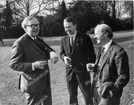 Lord Barber Of Wentbridge (died 12/2005) (formerly Anthony Barber) With Geoffery Rippon M.p. (arm In Plaster) And Peter Walker M.p.
