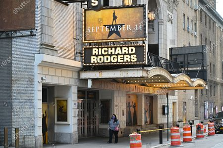 "A view of the newly installed ""September 14"" sign displayed on the Hamilton marquee at the Richard Rodgers Theatre in Times Square in New York."