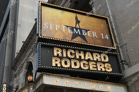 "Stock Picture of A view of the newly installed ""September 14"" sign displayed on the Hamilton marquee at the Richard Rodgers Theatre in Times Square in New York."