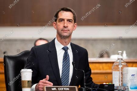 U.S. Senator Tom Cotton (R-AR) speaks at a hearing of the Senate Armed Services Committee.