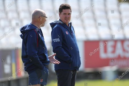 Marcus North, Durham's Director of Cricket (R) in conversation with Head Groundsman Vic Demain during the LV= County Championship match between Durham County Cricket Club and Worcestershire at Emirates Riverside, Chester le Street on Thursday 13th May 2021.