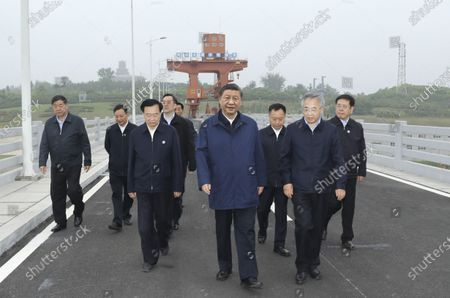 (210514) - NANYANG, May 14, 2021 (Xinhua) - Chinese President Xi Jinping, also general secretary of the Communist Party of China Central Committee and chairman of the Central Military Commission, inspects the Taocha Canal Head before a symposium, in Xichuan County, Nanyang, Central China's Henan Province, May 13, 2021. Xi Jinping on Friday convened the symposium on advancing the high-quality follow-up development of the South-to-North Water Diversion Project.