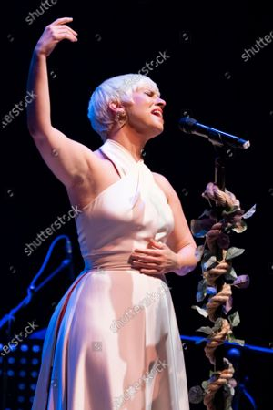 Stock Photo of Spanish singer Pasion Vega performs on stage at Teatro Circo Price on May 13, 2021 in Madrid, Spain.
