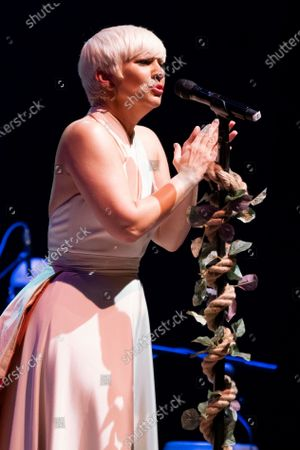 Stock Picture of Spanish singer Pasion Vega performs on stage at Teatro Circo Price on May 13, 2021 in Madrid, Spain.