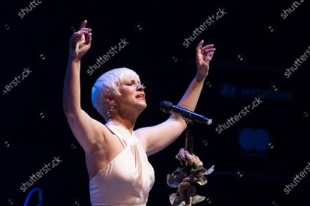 Stock Image of Spanish singer Pasion Vega performs on stage at Teatro Circo Price on May 13, 2021 in Madrid, Spain.