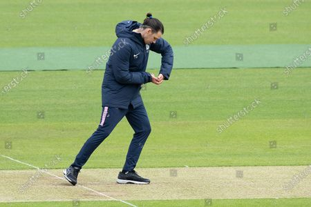 Peter Handscombe, Middlesex CCC replaying his shot from yesterday? during Middlesex CCC vs Hampshire CCC, LV Insurance County Championship Group 2 Cricket at Lord's Cricket Ground on 14th May 2021