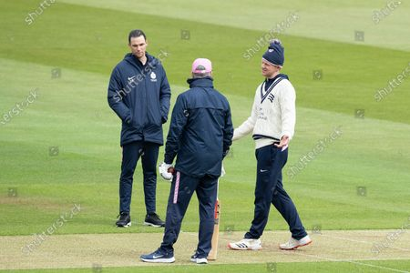 Sam Robson, Peter Handscombe, and Stuart Law in conversation before play during Middlesex CCC vs Hampshire CCC, LV Insurance County Championship Group 2 Cricket at Lord's Cricket Ground on 14th May 2021
