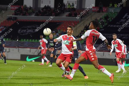 Monaco's French forward Wissam Ben Yedder and Monaco's Portuguese midfielder Gelson Martins during the French Cup semi-final football match between GFA Rumilly Vallieres and AS Monaco at the Parc des Sports Stadium in Annecy, eastern France on May 13, 2021.