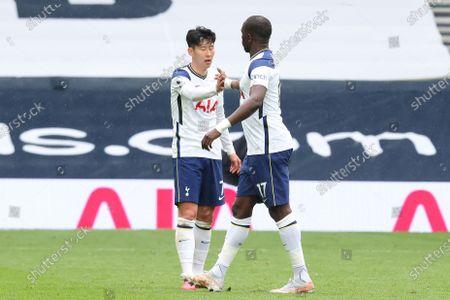 Son Heung-Min of Tottenham Hotspur celebrates the Spurs 2-0 win with Moussa Sissoko; Tottenham Hotspur Stadium, London, England; English Premier League Football, Tottenham Hotspur versus Wolverhampton Wanderers.