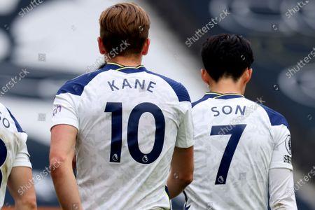 Harry Kane of Tottenham Hotspur walks back to his half with Son Heung-Min after his goal; Tottenham Hotspur Stadium, London, England; English Premier League Football, Tottenham Hotspur versus Wolverhampton Wanderers.