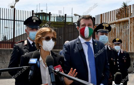 Italy's League Party leader Matteo Salvini (R), with his lawyer Giulia Bongiorno (L), address the media at the end of his trial in Catania, Sicily, Italy, 14 May 2021. Former Italian Interior Minister Salvini was accused of kidnapping after he refused to disembark 131 migrants from Gregoretti rescue ship in Augusta, Italy in July 2019. Judge ruled the accusations against Salvini out and he shouldn't stand the trial.