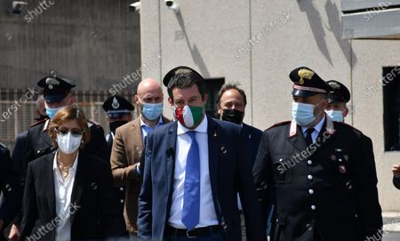 Italy's League Party leader Matteo Salvini (C), with his lawyer Giulia Bongiorno (L), address the media at the end of his trial in Catania, Sicily, Italy, 14 May 2021. Former Italian Interior Minister Salvini was accused of kidnapping after he refused to disembark 131 migrants from Gregoretti rescue ship in Augusta, Italy in July 2019. Judge ruled the accusations against Salvini out and he shouldn't stand the trial.