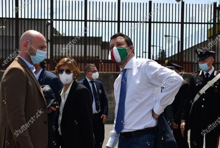 Italy's League Party leader Matteo Salvini (R), with his lawyer Giulia Bongiorno (C), address the media at the end of his trial in Catania, Sicily, Italy, 14 May 2021. Former Italian Interior Minister Salvini was accused of kidnapping after he refused to disembark 131 migrants from Gregoretti rescue ship in Augusta, Italy in July 2019. Judge ruled the accusations against Salvini out and he shouldn't stand the trial.