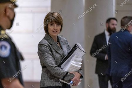 Rep. Cathy McMorris Rodgers, R-Wash., arrives as the House Republican Conference meets to elect a new chairman to replace Rep. Liz Cheney, R-Wyo., who was ousted from the GOP leadership for her criticism of former President Donald Trump, at the Capitol in Washington