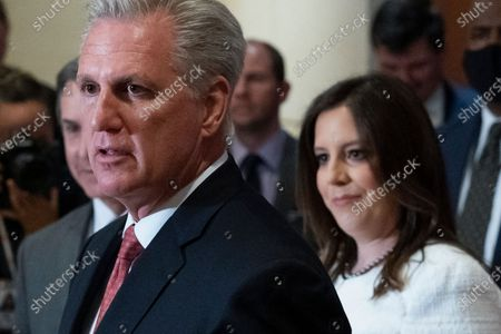 House Minority Leader Kevin McCarthy of Calif., speaks with reporters, joined by newly-elected House Republican Conference Chair Rep. Elise Stefanik, R-N.Y., on Capitol Hill, in Washington. Republicans voted Friday morning for Stefanik to be the new chair for the House Republican Conference, replacing Rep. Liz Cheney, R-Wyo., who was ousted from the GOP leadership for criticizing former President Donald Trump