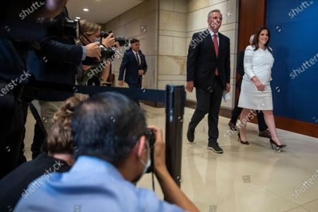 House Minority Leader Kevin McCarthy walks with Republican Representative from New York Elise Stefanik following her election as House Republican Conference Chairman in the US Capitol in Washington, DC, USA, 14 May 2021. Representative Stefanik replaces Republican Representative from Wyoming Liz Cheney following her ouster from the party's leadership.