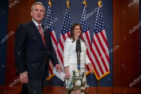 House Minority Leader Kevin McCarthy walks to the microphone with Republican Representative from New York Elise Stefanik following her election as House Republican Conference Chairman in the US Capitol in Washington, DC, USA, 14 May 2021. Representative Stefanik replaces Republican Representative from Wyoming Liz Cheney following her ouster from the party's leadership.
