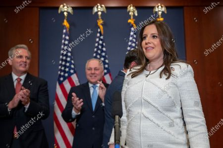Republican Representative from New York Elise Stefanik walks to the microphone to deliver remarks following her election as House Republican Conference Chairman in the US Capitol in Washington, DC, USA, 14 May 2021. Representative Stefanik replaces Republican Representative from Wyoming Liz Cheney following her ouster from the party's leadership.
