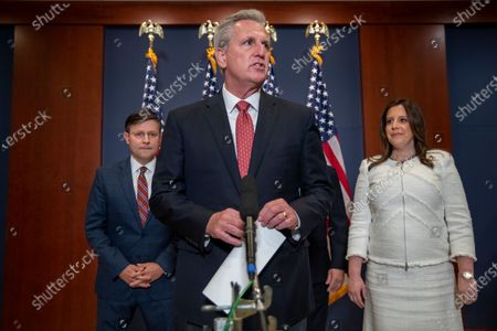 House Minority Leader Kevin McCarthy (C) delivers remarks following the election of Republican Representative from New York Elise Stefanik (R) as the   House Republican Conference Chairman in the US Capitol in Washington, DC, USA, 14 May 2021. Representative Stefanik replaces Republican Representative from Wyoming Liz Cheney following her ouster from the party's leadership.